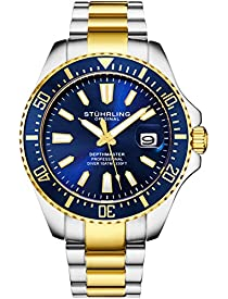 Stuhrling Original Mens Watch - Gold Tone and Stainless Steel Bracelet Blue Dial Watch with Screw Down Crown for 330 Ft. of Water Resistance - Analog Dial, Quartz Movement - Depthmaster Watch Mens Col