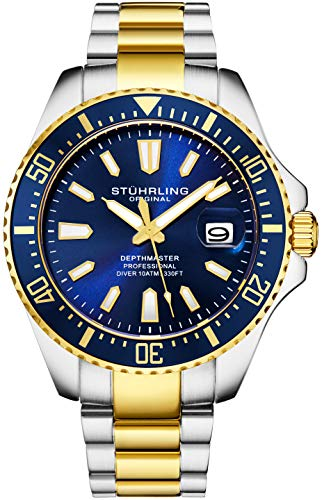 Stuhrling Original Mens Watch - Gold Tone and Stainless Steel Bracelet Blue Dial Watch with Screw Down Crown for 330 Ft. of Water Resistance - Analog Dial, Quartz Movement - Depthmaster Watch Mens Col ()