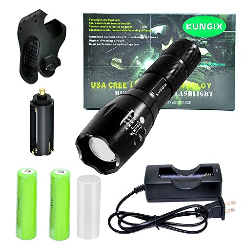Kungix Nightlight Tactical LED Flashlight, Cree T6 1200 Lumens with 5 Models Zoomable Torch, 2-Piece 2400Mah 18650 Battery, Bicycle Holder, Charger Base Include