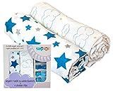 Organic Cotton Muslin Blue Star & Cloud Baby Boy Swaddle Blanket | Ultra Soft