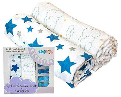 Swaddle Blanket - My Tiny Tot - Muslin Baby Blanket, Star & Cloud Baby Swaddles | Ultra Soft | Organic | for Boys ()