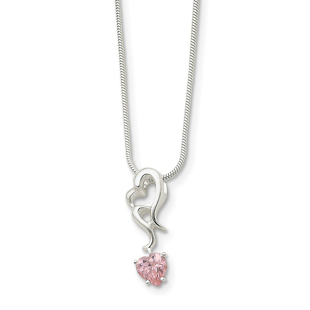 Sterling Silver Pink CZ Charm Pendant Necklace 18