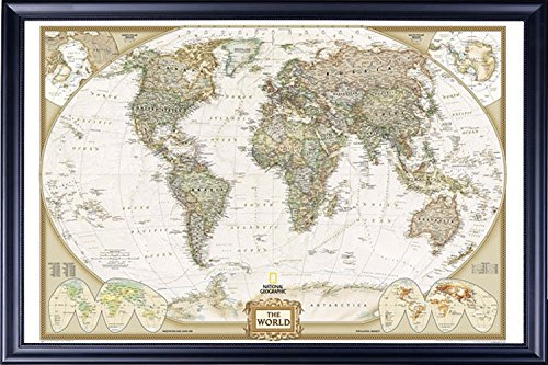 Poster Art House Framed National Geographic World Map Executive Style - with Push Pins - 24x36 Dry Mounted in Executive Series Black Wood Frame with Beaded Lip - Crafted in USA (Best Lips In The World)