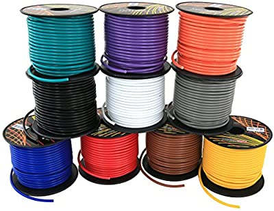 GS Power's 16 Gauge, 10 Rolls of 100 Feet (total of 1000') Car Audio Video Power Primary Remote Turn on Hook up Wire (Cable Color Set: Black Red Blue Green Brown Orange Grey Purple White Yellow)