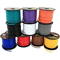 GS Powers 16 Gauge, 10 Rolls of 100 Feet (total of 1000') Car Audio Video Power Primary Remote Turn on Hook up Wire (Cable Color Set: Black Red Blue Green Brown Orange Grey Purple White Yellow)