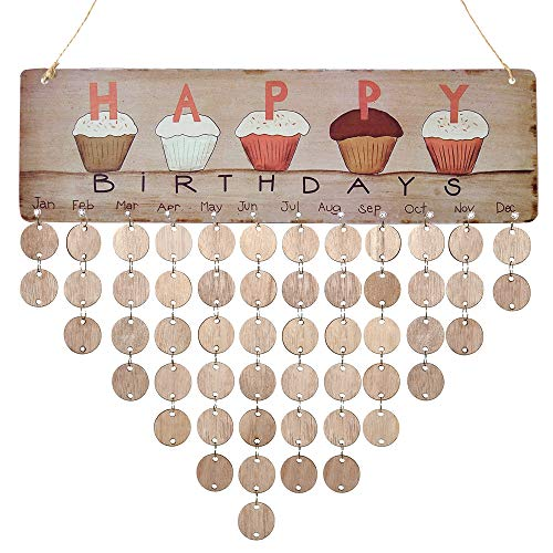 Cupcake Birthday Calendar Wall Hanging, Wooden Calendar Board Plaque DIY Birthday Anniversary Reminder Calendar for Home -