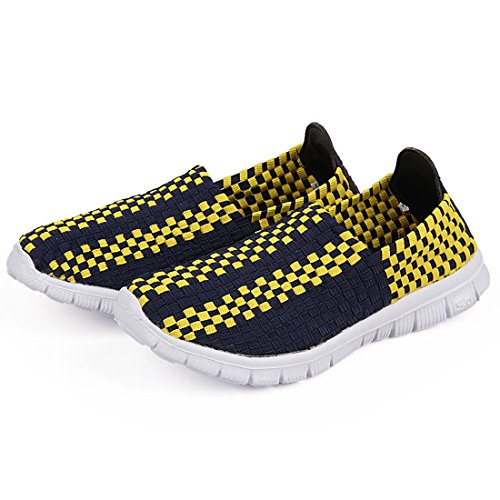 Flat Woven Slip Active amp;blue Shoes Men Yellow Flat Women SEVENWELL Loafers on Comfort Walk Breathable Sneakers HU8qcICc