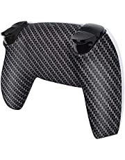 eXtremeRate Black Silver Carbon Fiver Pattern Bottom Shell for PS5 Controller, Custom Back Housing for PS5 Controller, Replacement Back Shell Cover for PS5 Controller - Controller NOT Included