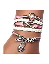Axiba Girl's Retro Vintage Handmade Adjustable Charms Multilayer Wrist Bracelet (Style 09)