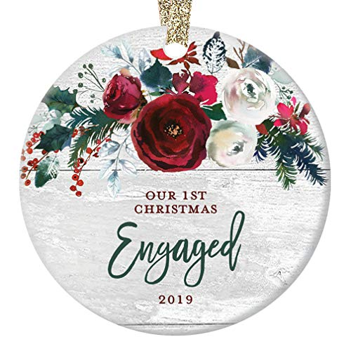 Modern Farmhouse Engagement Ornament 2019 First 1st Christmas Engaged Gift for Couple Bride & Groom to Be Rustic Ceramic Keepsake Present 3