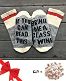 Sunycoo Unisex Cotton Socks If You Can Read This Bring Me Some Wine Socks with Christmas Gifts Brooch For Women And Men(White&Gray)