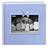 "Pioneer Photo Albums 200 Pocket Blue Gingham Fabric Frame Cover Photo Album for 4x6"" Prints"""