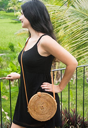 Natural Round with strap from Bamboo Bag Straw crossbody Bali leather Brown Handwoven Vintage vdwqYY