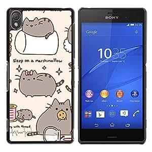 Qstar Arte & diseño plástico duro Fundas Cover Cubre Hard Case Cover para Sony Xperia Z3 D6603 / D6633 / D6643 / D6653 / D6616 ( Pussy Cat Grey Sleep Marshmallow Play)