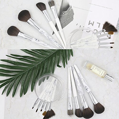 Fiveaccy Branded 9-Pieces Unicorn Marble Makeup Brush Professional Makeup Brush Set, Synthetic Foundation Kabuki Brushes for Bottom Cosmetic Eyeshadow ( White, 9 Pieces,Soft Fiber Hair)