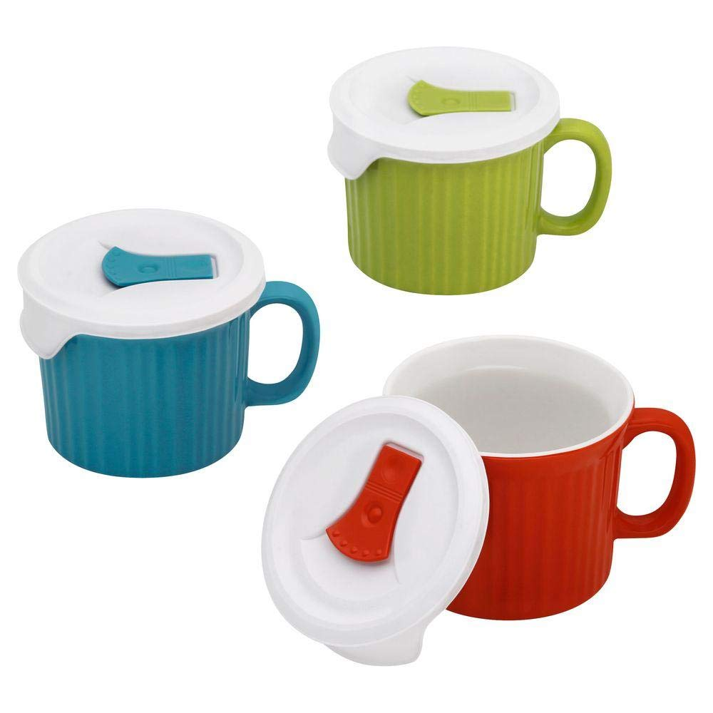 Corningware French White 6 piece Pop-In Mug Multi Color: Includes (1) fluted Sprout mug with lid, (1) fluted Pool mug with lid, (1) fluted Vermilion mug with lid