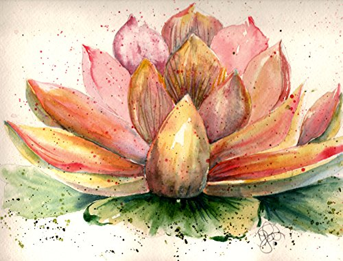 Sheral's Lotus Blank Note Cards: 6 Blank Artistic Floral All Occasion Watercolor Cards with Envelopes (Lotus Note Cards)