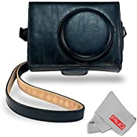 Canon SX720 710 620 HS Premium Jacket Case - PiuQ Vintage Retro Classic Style PU Leather Protective Cover Case Bag with Shoulder Strap for Canon Sony Nikon Samsung Panasonic Compact Cameras (Black)