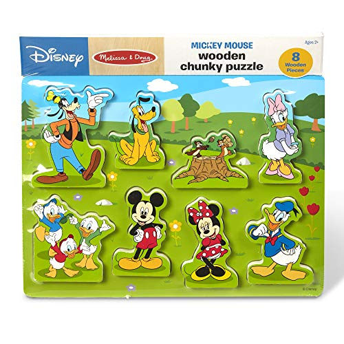 Melissa & Doug Disney Mickey Mouse Clubhouse Wooden Chunky Puzzle (8 Pieces, Great Gift for Girls and Boys - Best for 2, 3, and 4 Year Olds)