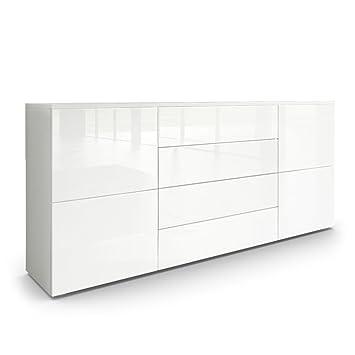Sideboard Kommode Rova, Korpus in Weiß matt / Fronten in Weiß ...