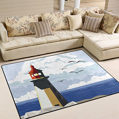 Lighthouse In Cove with Sea View Area Rug Outdoor Doormat 5' x 7' for Home Decor Bedroom Living Room Mats Indoor Carpet (Personalized Lighthouse)