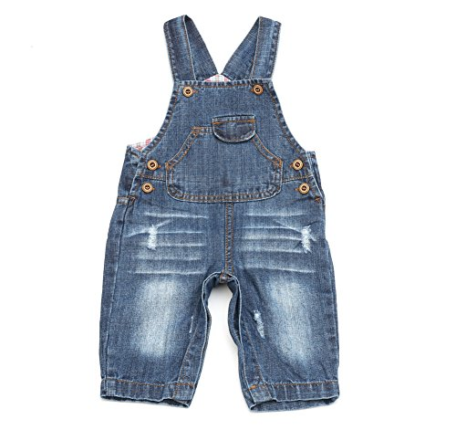 Boys In Bib Overalls (BAIXITE Baby & Little Boys/Girls Washed Premium Soft Denim Bib Overalls With Solid Lining (6-9 Months, Denim #1))