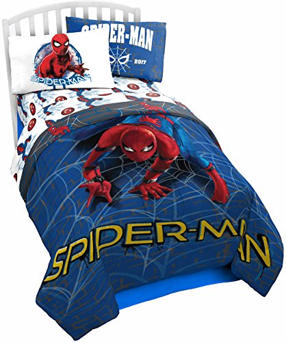 Marvel Spider Man Wall Crawler Twin Comforter - Super Soft Kids Reversible Bedding features Spiderman - Fade Resistant Polyester Microfiber Fill (Official Marvel Product) Black Friday & Cyber Monday 2018