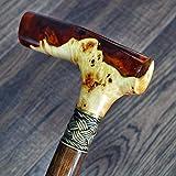 oleksandr.victory Canes Walking Sticks Wood Reeds Bronze Wooden BURL Handmade Cane Stick Men's Accessories (Amber Style)