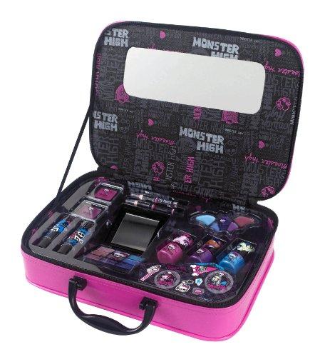 Markwins Internacional - Estuche de maquillaje Monster High con pintauñas, pintalabios, sombras, espejo y adhesivos
