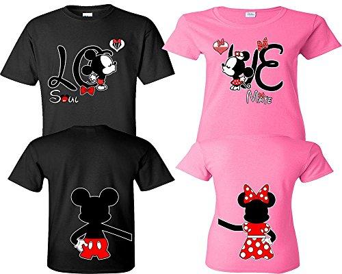 Mickey Minnie Kissing Couple Shirts, Matching Couple Shirts, His And Her Shirts, King Queen Shirts Black - Pink Man Medium - Woman Medium by LIFESTYLE39
