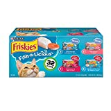 Purina Friskies Wet Cat Food Variety Pack, Fish-A-Licious Shreds, Prime Filets & Tasty Treasures - (32) 5.5 oz. Cans