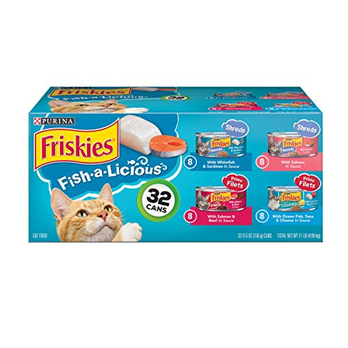 Purina Friskies Wet Cat Food Variety Pack; Fish-A-Licious Shreds, Prime Filets & Tasty Treasures - (32) 5.5 oz. Cans