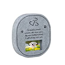 UEETEK Pet Memorial Stone with Photo Frame Graven Poem, Gift or Memorial for Loss of Pet Dog or Cat, Indoor Outdoor Backyard Garden Marker Grave Tombstone