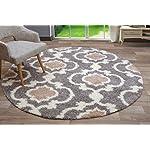 "Rugshop Cozy Moroccan Trellis Indoor Shag Round Area Rug, 6 6"" Diameter, Gray/Cream"