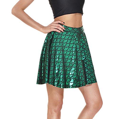 Jupes pliss de Femme Jupes Jupes Vert Mxssi Sirne Swing cailles Filles imprim Patineur cailles Poisson Femmes nqOx4xTE8w