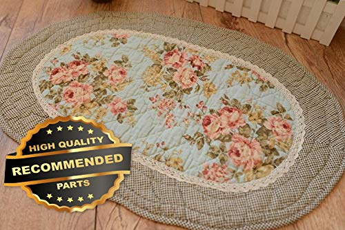 Werrox French Country Shabby Chic Cottage Floral Quilted Floor Door Bath Mat Rug | 40x60cm(16034 Size | Quilt Style QLTR-291266758