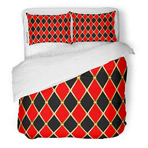 - Semtomn Decor Duvet Cover Set Twin Size Abstract Harlequin Patterns Golden Grid Red and Black Rhomboids 3 Piece Brushed Microfiber Fabric Print Bedding Set Cover