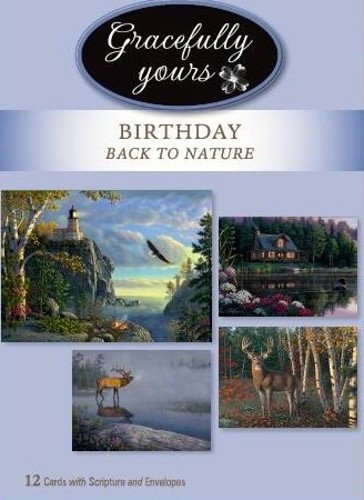 Kim Designs (Gracefully Yours 102 Back to Nature Birthday Greeting Cards featuring Kim Norlien, 4 designs/3 each with Scripture Message)