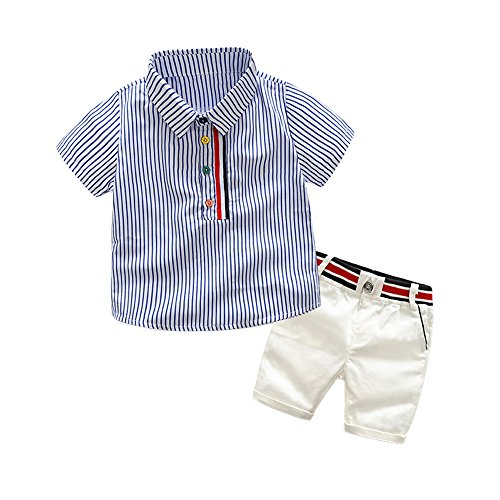 Top and Top Toddler Baby Boys Short Sleeve Button Down Blue Striped Shirts Short Pants Clothing Sets (130/6T) by Top and Top
