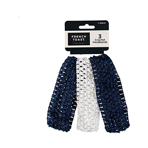 Band Uniform Accessories (FRENCH TOAST School Uniforms Girls 3 Pack Crochet Headband Set - Navy/White)
