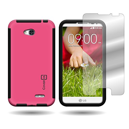 CoverON Hybrid TPU & Hard Plastic Dual Layer Case for LG Optimus L70 Exceed 2 Realm Pulse Ultimate 2 L41C + Screen Protector - Hot Pink Hard Plastic and Black TPU (Lg Realm Hot Pink Phone Case)