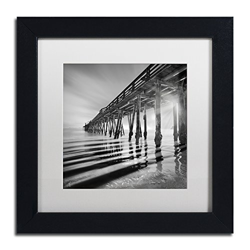 Pier and Shadows by Moises Levy in White Matte and Black Framed Artwork, 11 by 11