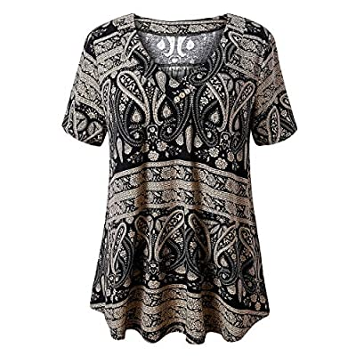 U.Vomade Women's Plus Size Tops Short Sleeve Blouses Flowy Summer Tunic Tops M-4X. at Women's Clothing store