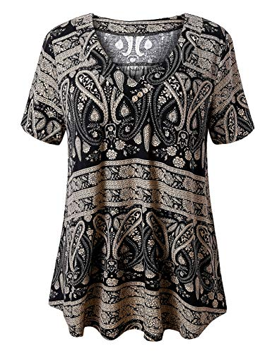 U.Vomade Women's Short Sleeve Top Plus Size Floral Tunics Swing T-Shirt Multi Black 2X-Large