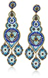 Miguel Ases Large Triple Leaf Center Art Deco Swarovski Post Drop Earrings