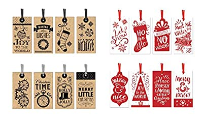 Pack of 48 Christmas Gift Tags - 16 Different Designs Xmas Gifting Tags