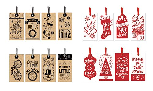 Self Stick Christmas Gift Tags - Pack of 48 Christmas Gift Tags - 16 Different Designs Xmas Gifting Tags