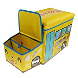 MonkeyJack Storage Box Container Seat Household Supplies for Kids Dog Toy - Yellow, 57x26x32cm