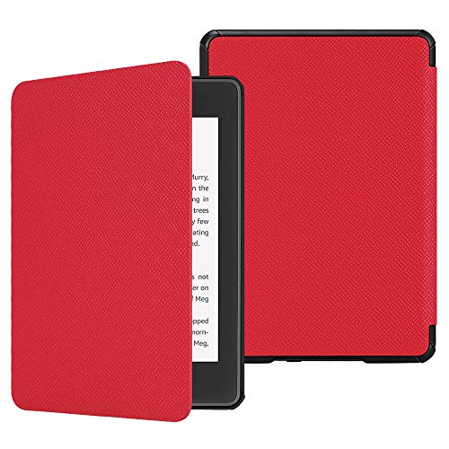 Fintie Slimshell Case for All-New Kindle Paperwhite (10th Generation, 2018 Release) - Premium Lightweight PU Leather Cover with Auto Sleep/Wake for Amazon Kindle Paperwhite E-Reader, Red