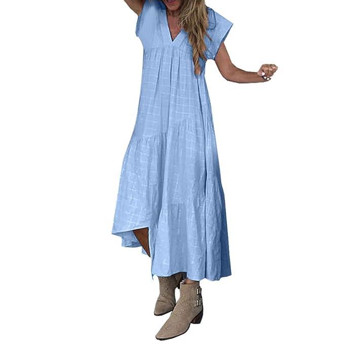 Summer Dresses for Women Ladies Short Sleeve V Neck Casual Long Maxi Beach Bohemia Dress Beach Sundress Sale Party Elegant New Look UK Size